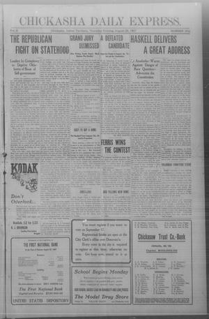 Primary view of object titled 'Chickasha Daily Express. (Chickasha, Indian Terr.), Vol. 8, No. 202, Ed. 1 Thursday, August 29, 1907'.
