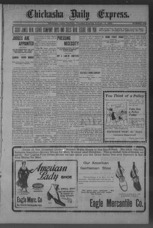 Primary view of object titled 'Chickasha Daily Express. (Chickasha, Indian Terr.), No. 243, Ed. 1 Thursday, October 12, 1905'.