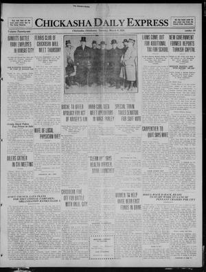 Primary view of object titled 'Chickasha Daily Express (Chickasha, Okla.), Vol. 21, No. 59, Ed. 1 Tuesday, March 9, 1920'.