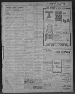 Primary view of object titled 'Chickasha Daily Express. (Chickasha, Okla.), Vol. 11, No. 254, Ed. 1 Tuesday, October 25, 1910'.