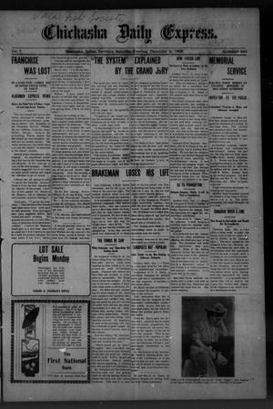 Primary view of object titled 'Chickasha Daily Express. (Chickasha, Indian Terr.), Vol. 7, No. 299, Ed. 1 Saturday, December 8, 1906'.