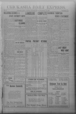 Primary view of object titled 'Chickasha Daily Express. (Chickasha, Indian Terr.), Vol. 8, No. 219, Ed. 1 Thursday, September 19, 1907'.