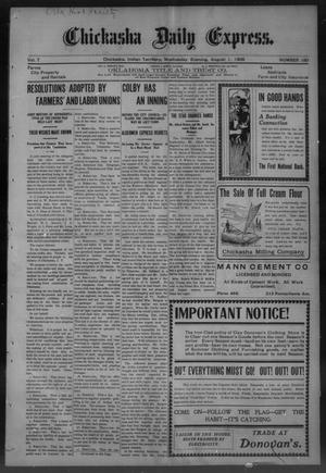 Primary view of object titled 'Chickasha Daily Express. (Chickasha, Indian Terr.), Vol. 7, No. 180, Ed. 1 Wednesday, August 1, 1906'.