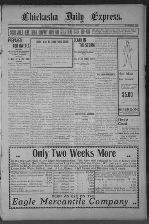Primary view of object titled 'Chickasha Daily Express. (Chickasha, Indian Terr.), No. 186, Ed. 1 Monday, August 7, 1905'.