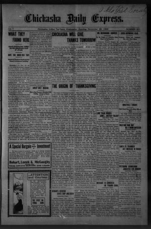 Primary view of object titled 'Chickasha Daily Express. (Chickasha, Indian Terr.), Vol. 7, No. 291, Ed. 1 Wednesday, November 28, 1906'.
