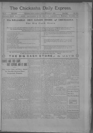 Primary view of object titled 'The Chickasha Daily Express. (Chickasha, Indian Terr.), Vol. 2, No. 286, Ed. 1 Friday, November 8, 1901'.
