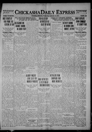 Primary view of object titled 'Chickasha Daily Express (Chickasha, Okla.), Vol. 22, No. 133, Ed. 1 Wednesday, September 21, 1921'.