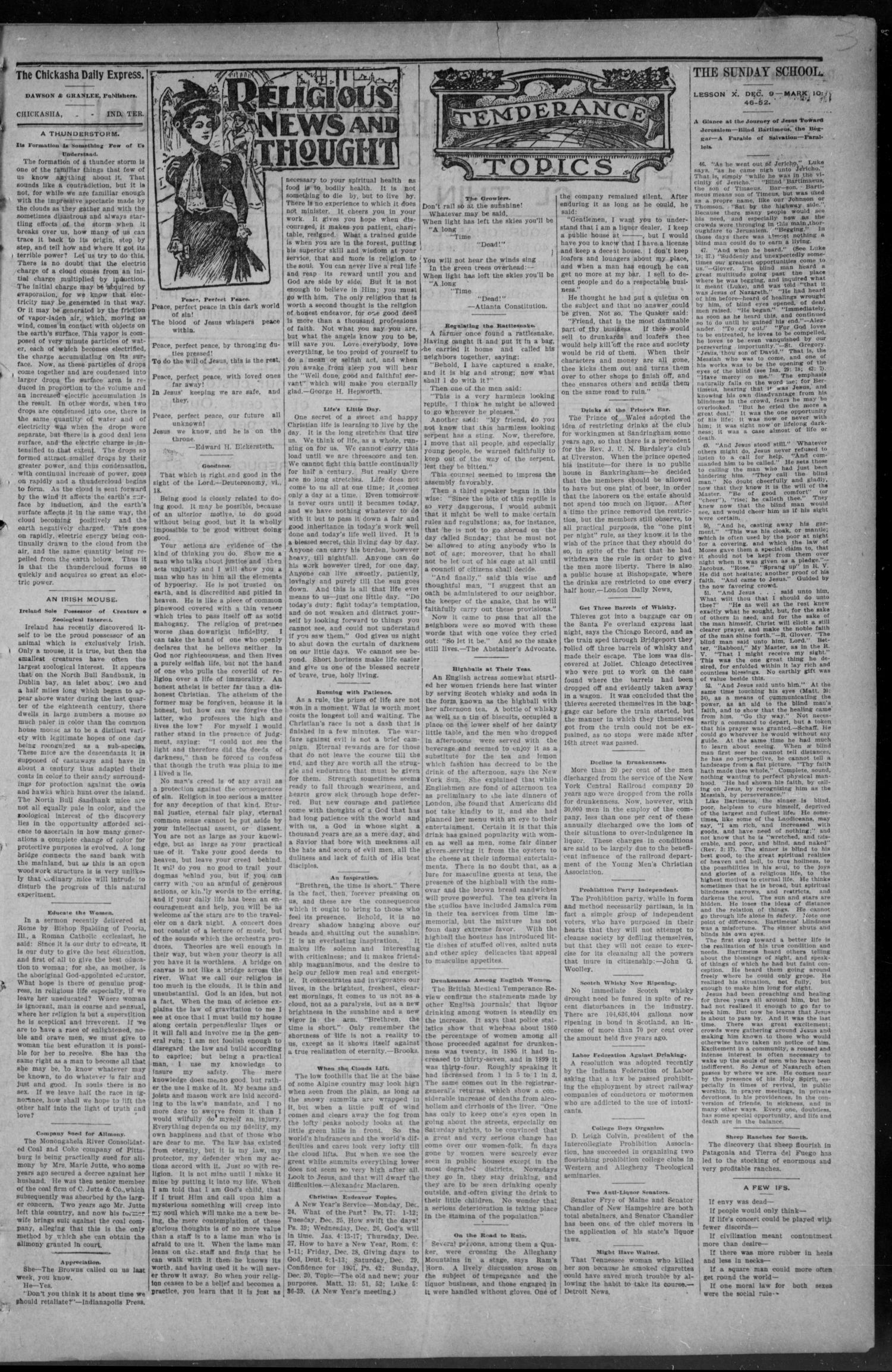 The Chickasha Daily Express. (Chickasha, Indian Terr.), Vol. 1, No. 300, Ed. 1 Saturday, December 8, 1900                                                                                                      [Sequence #]: 3 of 8