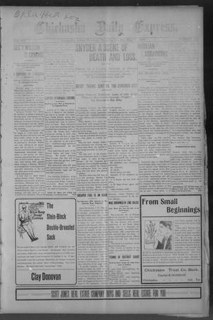 Primary view of object titled 'Chickasha Daily Express. (Chickasha, Indian Terr.), Vol. 14, No. 112, Ed. 1 Thursday, May 11, 1905'.