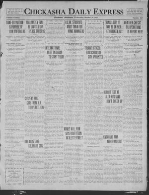 Primary view of object titled 'Chickasha Daily Express (Chickasha, Okla.), Vol. 20, No. 257, Ed. 1 Wednesday, October 29, 1919'.