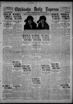 Primary view of object titled 'Chickasha Daily Express (Chickasha, Okla.), Vol. 22, No. 254, Ed. 1 Saturday, February 11, 1922'.