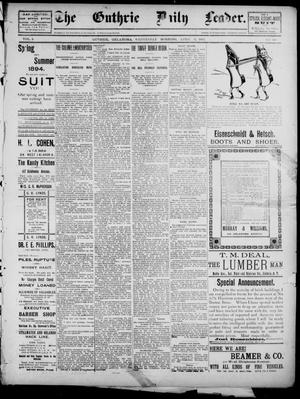Primary view of object titled 'The Guthrie Daily Leader. (Guthrie, Okla.), Vol. 2, No. 101, Ed. 1, Wednesday, April 4, 1894'.