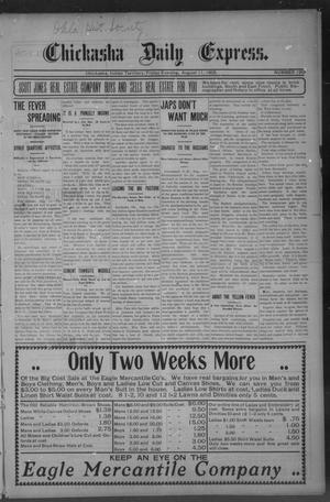Primary view of object titled 'Chickasha Daily Express. (Chickasha, Indian Terr.), No. 190, Ed. 1 Friday, August 11, 1905'.