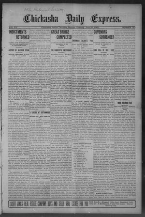 Primary view of object titled 'Chickasha Daily Express. (Chickasha, Indian Terr.), Vol. 14, No. 152, Ed. 1 Monday, June 26, 1905'.