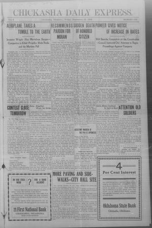 Primary view of object titled 'Chickasha Daily Express. (Chickasha, Okla.), Vol. 9, No. 222, Ed. 1 Friday, September 18, 1908'.