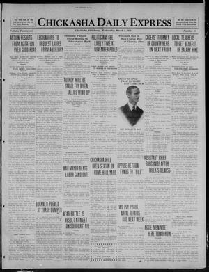 Primary view of object titled 'Chickasha Daily Express (Chickasha, Okla.), Vol. 21, No. 54, Ed. 1 Wednesday, March 3, 1920'.