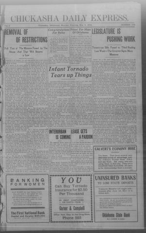 Primary view of object titled 'Chickasha Daily Express. (Chickasha, Okla.), Vol. 9, No. 106, Ed. 1 Monday, May 4, 1908'.