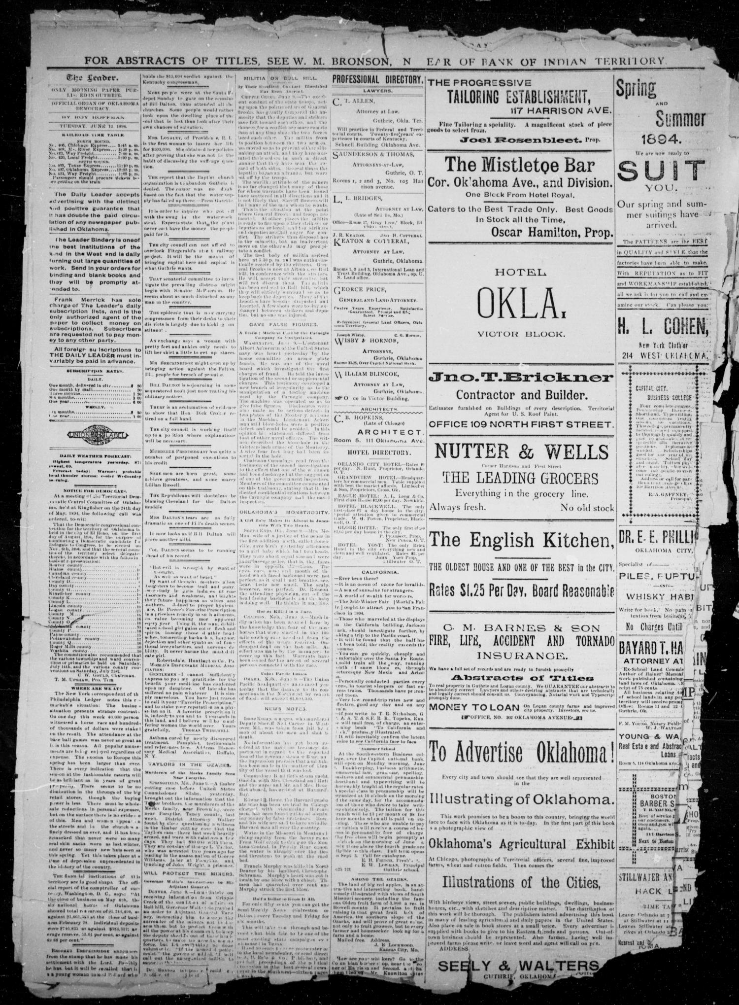 The Guthrie Daily Leader. (Guthrie, Okla.), Vol. 2, No. 161, Ed. 1, Tuesday, June 12, 1894                                                                                                      [Sequence #]: 2 of 4
