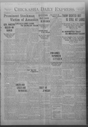 Primary view of object titled 'Chickasha Daily Express. (Chickasha, Okla.), Vol. FOURTEEN, No. 197, Ed. 1 Monday, August 18, 1913'.