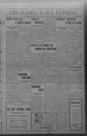 Primary view of object titled 'Chickasha Daily Express. (Chickasha, Indian Terr.), Vol. 8, No. 54, Ed. 1 Wednesday, March 6, 1907'.