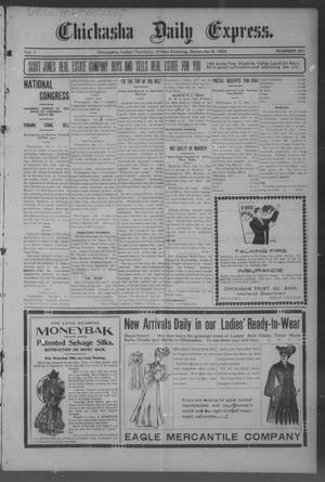 Primary view of object titled 'Chickasha Daily Express. (Chickasha, Indian Terr.), Vol. 7, No. 291, Ed. 1 Friday, December 8, 1905'.