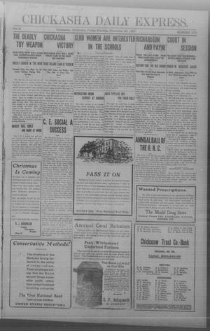 Primary view of object titled 'Chickasha Daily Express. (Chickasha, Okla.), Vol. 8, No. 279, Ed. 1 Friday, November 29, 1907'.