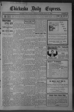 Primary view of object titled 'Chickasha Daily Express. (Chickasha, Indian Terr.), Vol. 7, No. 335, Ed. 1 Wednesday, January 31, 1906'.