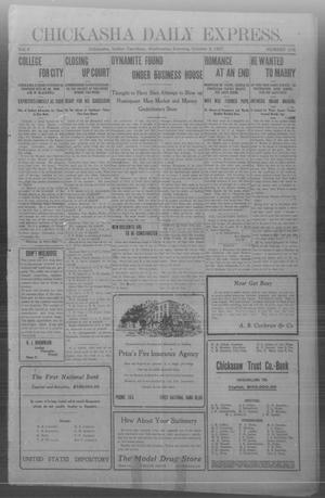 Primary view of object titled 'Chickasha Daily Express. (Chickasha, Indian Terr.), Vol. 8, No. 236, Ed. 1 Wednesday, October 9, 1907'.