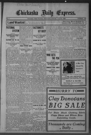 Primary view of object titled 'Chickasha Daily Express. (Chickasha, Indian Terr.), Vol. 7, No. 145, Ed. 1 Wednesday, June 20, 1906'.