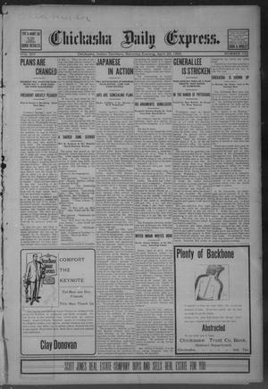 Primary view of object titled 'Chickasha Daily Express. (Chickasha, Indian Terr.), Vol. 14, No. 102, Ed. 1 Saturday, April 29, 1905'.