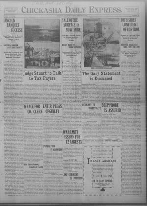 Primary view of object titled 'Chickasha Daily Express. (Chickasha, Okla.), Vol. THIRTEEN, No. 38, Ed. 1 Tuesday, February 13, 1912'.