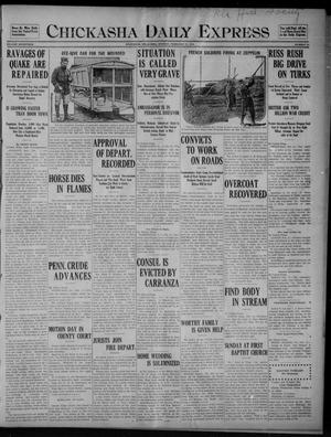 Primary view of object titled 'Chickasha Daily Express (Chickasha, Okla.), Vol. SEVENTEEN, No. 44, Ed. 1 Monday, February 21, 1916'.