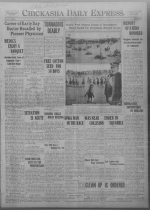 Primary view of object titled 'Chickasha Daily Express. (Chickasha, Okla.), Vol. THIRTEEN, No. 18, Ed. 1 Saturday, January 20, 1912'.