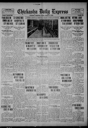 Primary view of object titled 'Chickasha Daily Express (Chickasha, Okla.), Vol. 22, No. 241, Ed. 1 Friday, January 27, 1922'.