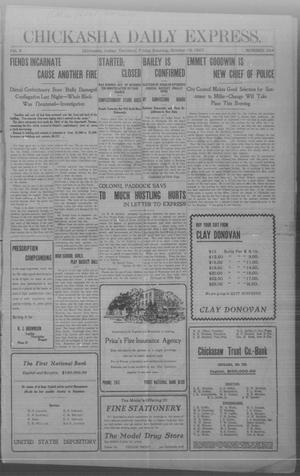 Primary view of object titled 'Chickasha Daily Express. (Chickasha, Indian Terr.), Vol. 8, No. 244, Ed. 1 Friday, October 18, 1907'.