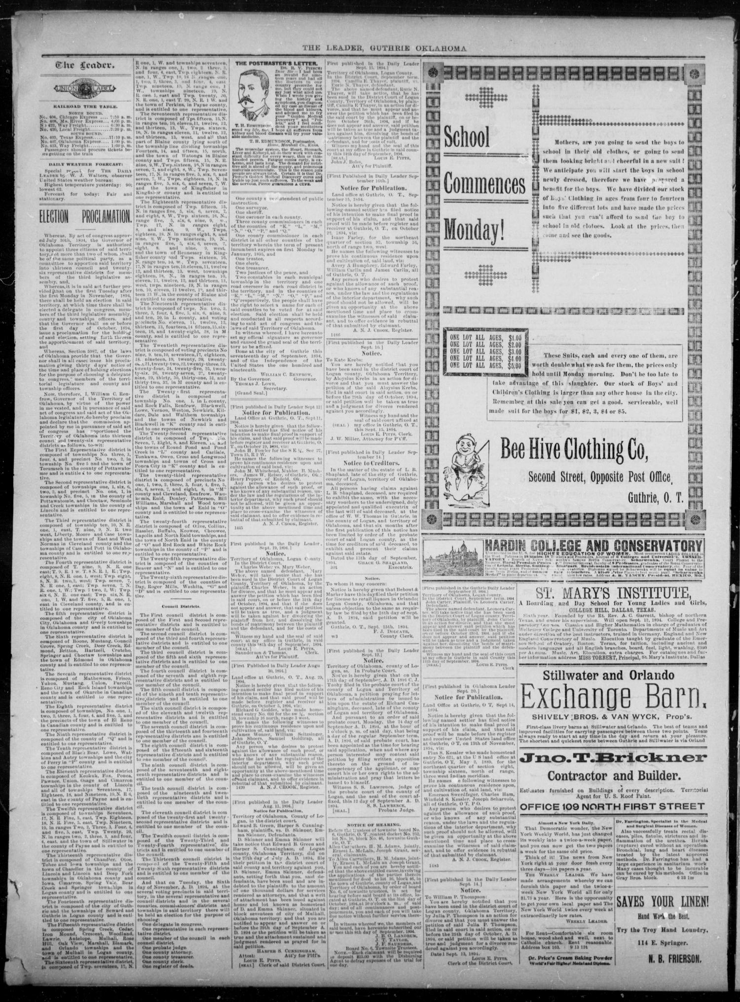 The Guthrie Daily Leader. (Guthrie, Okla.), Vol. 3, No. 248, Ed. 1, Sunday, September 23, 1894                                                                                                      [Sequence #]: 2 of 4