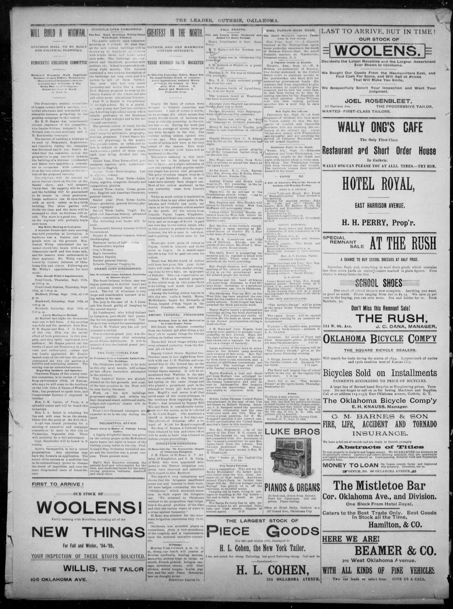 The Guthrie Daily Leader. (Guthrie, Okla.), Vol. 3, No. 248, Ed. 1, Sunday, September 23, 1894                                                                                                      [Sequence #]: 4 of 4