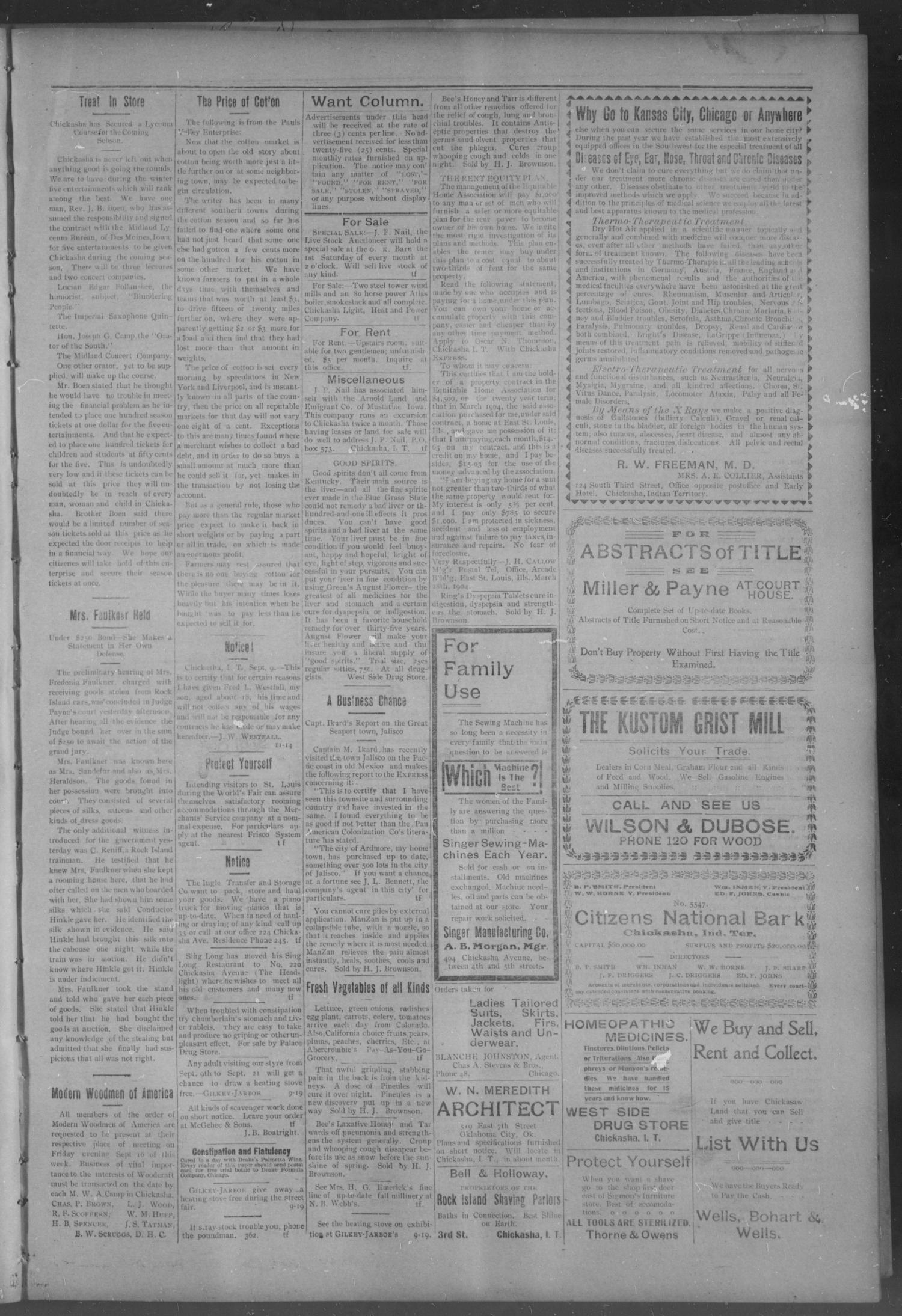 The Daily Express. (Chickasha, Indian Terr.), Vol. 13, No. 213, Ed. 1 Wednesday, September 14, 1904                                                                                                      [Sequence #]: 3 of 4