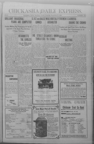 Primary view of object titled 'Chickasha Daily Express. (Chickasha, Indian Terr.), Vol. 8, No. 262, Ed. 1 Friday, November 8, 1907'.