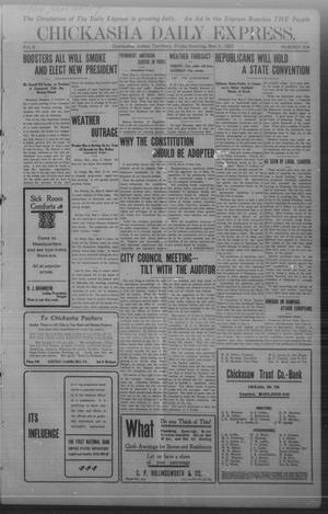 Primary view of object titled 'Chickasha Daily Express. (Chickasha, Indian Terr.), Vol. 8, No. 104, Ed. 1 Friday, May 3, 1907'.
