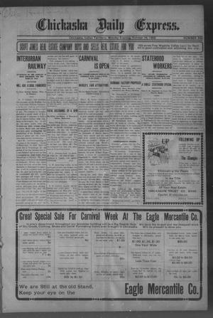 Primary view of object titled 'Chickasha Daily Express. (Chickasha, Indian Terr.), No. 246, Ed. 1 Monday, October 16, 1905'.