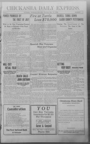 Primary view of object titled 'Chickasha Daily Express. (Chickasha, Okla.), Vol. 9, No. 117, Ed. 1 Saturday, May 16, 1908'.