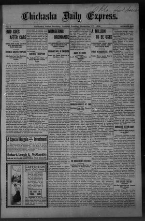 Primary view of object titled 'Chickasha Daily Express. (Chickasha, Indian Terr.), Vol. 7, No. 290, Ed. 1 Tuesday, November 27, 1906'.