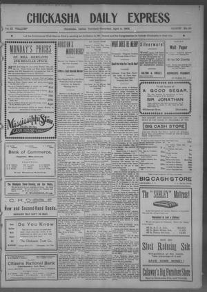 Primary view of object titled 'Chickasha Daily Express (Chickasha, Indian Terr.), Vol. 11, No. 80, Ed. 1 Saturday, April 4, 1903'.
