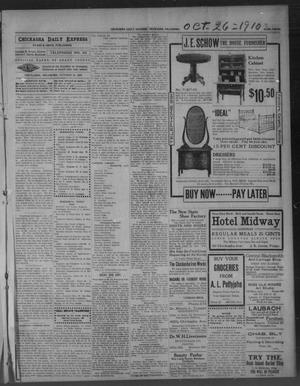 Primary view of object titled 'Chickasha Daily Express. (Chickasha, Okla.), Vol. 11, No. 255, Ed. 1 Wednesday, October 26, 1910'.