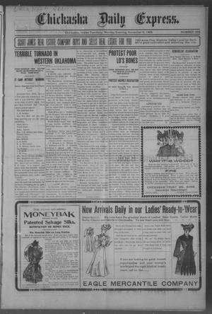 Primary view of object titled 'Chickasha Daily Express. (Chickasha, Indian Terr.), No. 264, Ed. 1 Monday, November 6, 1905'.