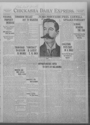 Primary view of object titled 'Chickasha Daily Express. (Chickasha, Okla.), Vol. THIRTEEN, No. 177, Ed. 1 Friday, July 26, 1912'.