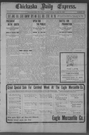 Primary view of object titled 'Chickasha Daily Express. (Chickasha, Indian Terr.), No. 253, Ed. 1 Tuesday, October 24, 1905'.