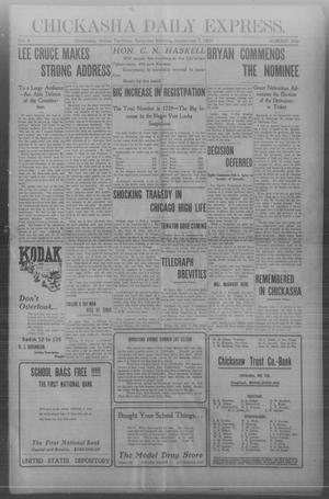 Primary view of object titled 'Chickasha Daily Express. (Chickasha, Indian Terr.), Vol. 8, No. 209, Ed. 1 Saturday, September 7, 1907'.