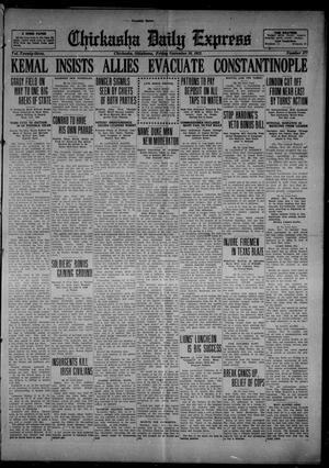 Primary view of object titled 'Chickasha Daily Express (Chickasha, Okla.), Vol. 23, No. 177, Ed. 1 Friday, November 10, 1922'.